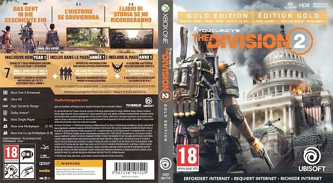 The Division 2 Game Cover German Deutsch XB1 black bull covers german xbox one cover