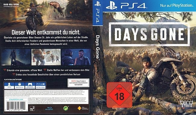 Days Gone Cover Playstation 4 PS4 German Deutsch german ps4 cover