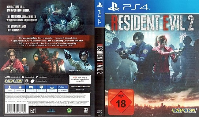 Resident Evil 2 Cover 2019 german ps4 cover