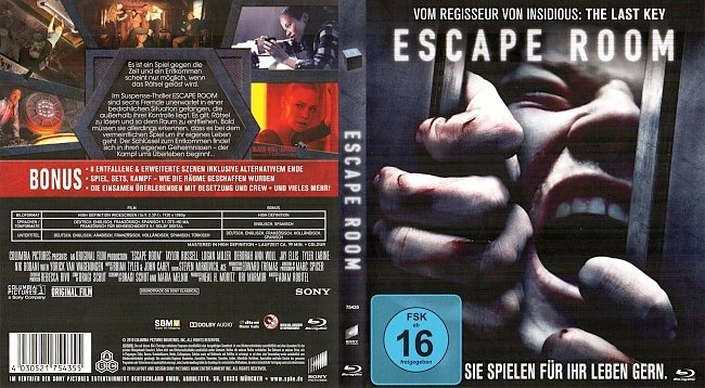 Escape Room Cover Blu ray German Deutsch german blu ray cover