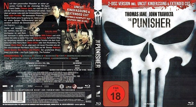The Punisher Cover Blu ray UNCUT Kinofassung Extended Cut german blu ray cover