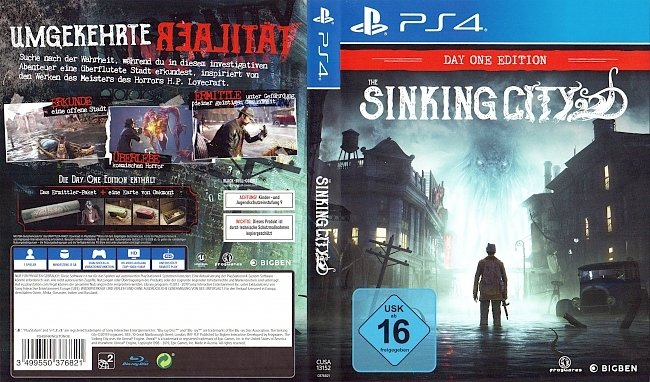 The Sinking City PS4 Deutsch Cover German german ps4 cover