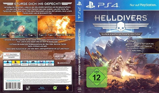 Helldivers Super Earth Ultimate Edition PS4 Cover german ps4 cover