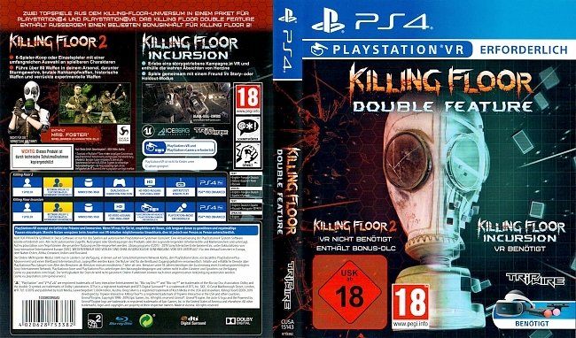 Killing Floor Double Feature Playstation 4 PS4 VR Cover Deutsch German german ps4 cover