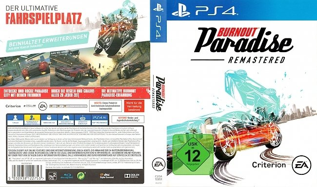 Burnout Paradise Remastered PS4 Cover German Deutsch german ps4 cover