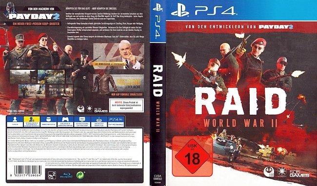Raid World War 2 Cover Playstation 4 Deutsch German german ps4 cover