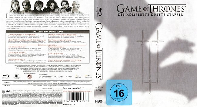 Game of Thrones Staffel 3 S03 Blu ray Cover Deutsch German german blu ray cover