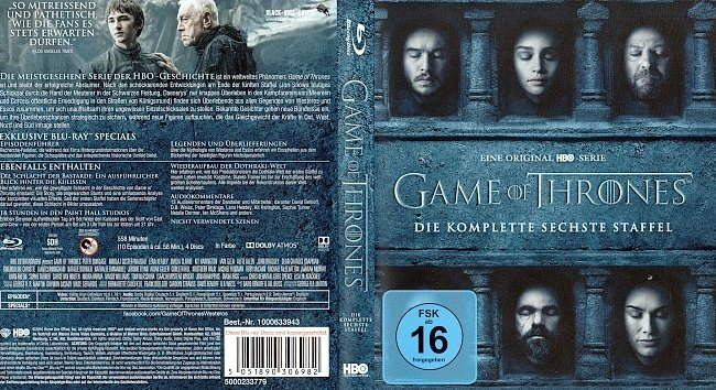 Game of Thrones Staffel 6 S06 Blu ray Cover Deutsch German german blu ray cover