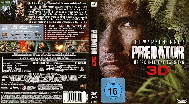 Predator 3D Ungeschnittene Fassung Bluray Cover Deutsch German german blu ray cover
