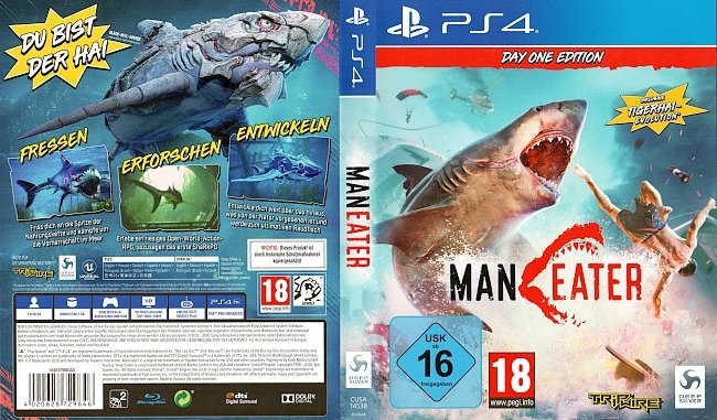 Man Eater PS4 Playstation 4 Cover German Deutsch german ps4 cover